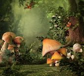 stock photo of fairy-mushroom  - Fantasy image with mushroom and stump in the forest - JPG