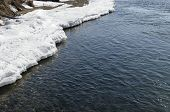 Angara river source. Icy clear water