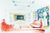 Watercolor Sketch Of An Interior Apartment