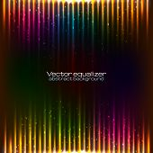 image of waveform  - Neon rainbow colors equalizer vector abstract background - JPG