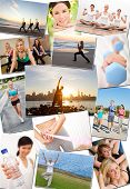Montage of interracial men, women people working out at a gym, active exercising on the beach, yoga,