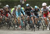 BARCELONA - MARCH, 30: Pack of the cyclists rides during the Tour of Catalonia cycling race through