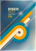 Disco party poster with retro abstract elements. Vector illustration.
