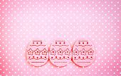 stock photo of pinky  - Decorated felt easter eggs pink on a pinky polka dots background - JPG