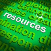 Resources Word Cloud Shows Assets Human Financial Input
