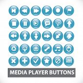 media player buttons, icons set, vector