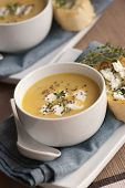 stock photo of butternut  - Freshly made butternut squash soup in a bowl - JPG