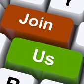 Join Us Keys Mean Membership Or Subscription