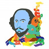 stock photo of william shakespeare  - An abstract illustration of Shakespeare Day on a white background - JPG