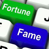 Fortune Fame Keys Show Wealth Or Publicity