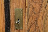 Key In A Keyhole On An Old Door With Patina