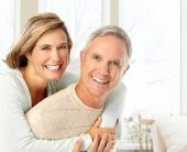 picture of elderly couple  - Happy elderly couple in love at home - JPG