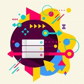 Database On Abstract Colorful Spotted Background With Different Elements