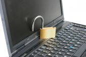 Laptop With Unlocked Open Padlock