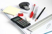Notepad Calculator Ruler Pens Pencil Stapler