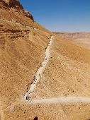 foto of masada  - road in fortress Masada Israel - JPG