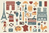 stock photo of french culture  - Traditional symbols of the French architecture - JPG