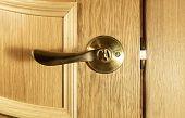 Piece Of Wood Of An Oak Door With A Handle