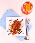 Roasted Duck Breast, Vegetables, Orange Aperitif