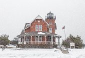 Sea Girt Lighthouse In The Snow