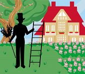 picture of sweeper  - illustration of chimney sweeper silhouette at work - JPG
