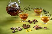 Transparent Teapot And Glasses With Tea And Oriental Sweets On The Green Table