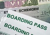 stock photo of boarding pass  - Schengen visa and air boarding passes - JPG