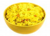 Boiled saffron rice with vegetables in yellow bowl