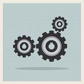 Technology mechanical gear icon on blue retro background vector
