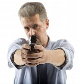 Man holding gun isolated on white background