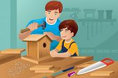 Father Son Making A Birdhouse