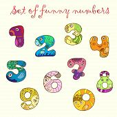 Set of colorful funny figures (numbers).