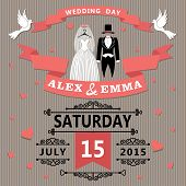 Wedding Invitation With Cartoon Dress Of Bride And Groom