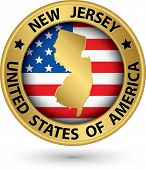 New Jersey State Gold Label With State Map, Vector Illustration