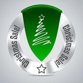 Christmas Badge With Green Ribbon