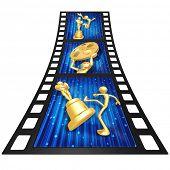 3D Gold Guy Film Awards Film Strip