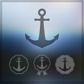 Anchor icon set on blurry background
