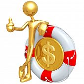 Gold Guy With Life Preserver Dollar Coin