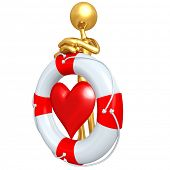 Gold Guy With Life Preserver Heart