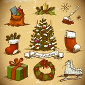 Set of  New Year and Christmas Design Elements