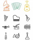 Vector black musical instruments icons set