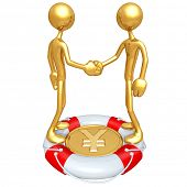 Gold Guys Handshake Lifebuoy Yen Concept