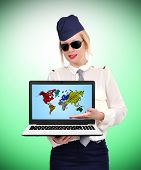 Stewardess Holding Laptop