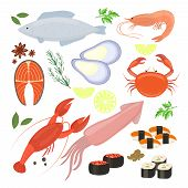 stock photo of shrimp  - Selection of colorful vector seafood  shrimp and sushi icons including cuttlefish  calamari  fish  lobster  crab  sushi  sushi rolls  shrimp  prawn  mussel  salmon steak  spices and seasonings - JPG