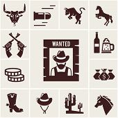 image of bronco  - Wild West wanted poster and associated icons  vector illustrations - JPG