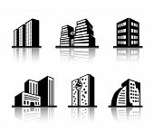 Set of black and white building icons