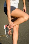 Female Runner Suffering Ankle Sprain Sport  Injury