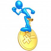 3D Character On Yen Coin Unicycle