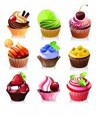 Delicious Yummy Cupcakes, Vector Illustration
