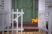 Pumpkins On Porch
